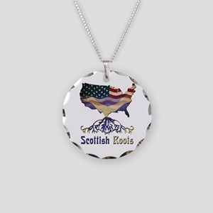 American Scottish Roots Necklace Circle Charm