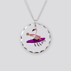 Pink Flamingo Kayaking Necklace Circle Charm