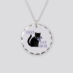 Best Cat Mom Necklace Circle Charm