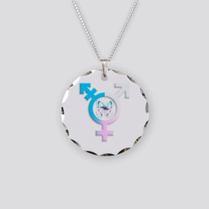 Transgender Butterfly Symbol Necklace Circle Charm