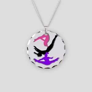 Trampoline Gymnast Necklace Circle Charm