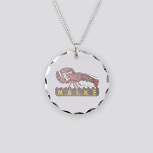 Vintage Maine Lobster Necklace Circle Charm