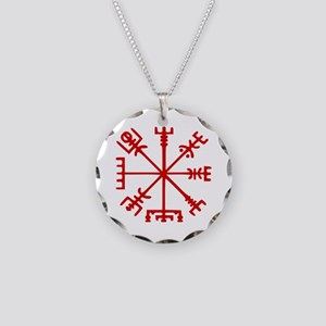 Blood Red Viking Compass : Vegvisir Necklace Circl