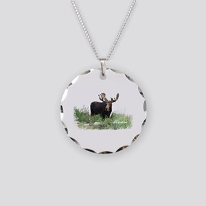 Maine Moose Necklace Circle Charm