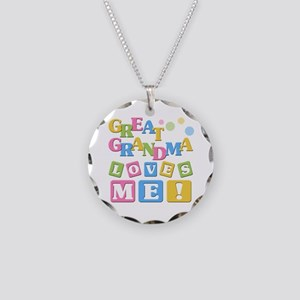 Great Grandma Loves Me Necklace Circle Charm