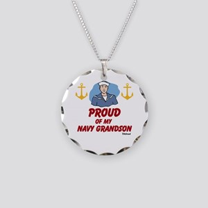 Proud Of My Navy Grandson Necklace Circle Charm