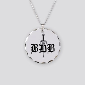 BDB Dagger Logo White Circle Charm Necklace