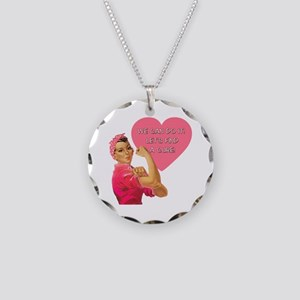Rosie the Riveter Breast Cancer Necklace Circle Ch