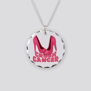 Crush Cancer with Pink Heels Necklace Circle Charm