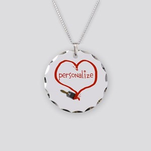 Customizable Painted Heart Necklace Circle Charm