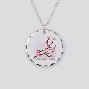 Breast Cancer Awareness Necklace Circle Charm