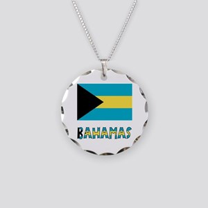 Bahamas Flag & Name Necklace Circle Charm