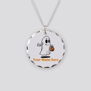 Personalized Halloween Necklace Circle Charm