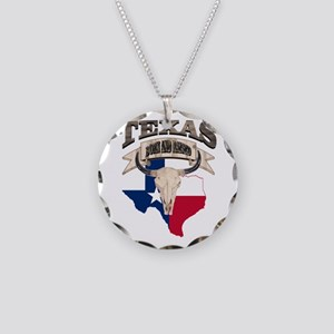 Bull Skull Texas home Necklace Circle Charm