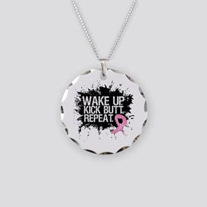 Fight Like a Warrior Breast Cancer Necklace Circle
