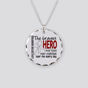 Bravest Hero I Knew Lung Cancer Necklace Circle Ch