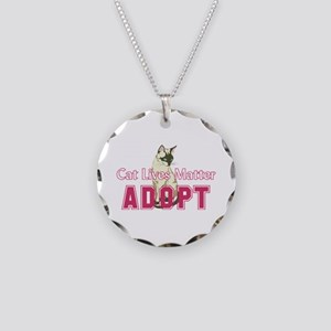 Cat Lives Matter Necklace Circle Charm