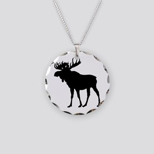Moose: Black Necklace Circle Charm