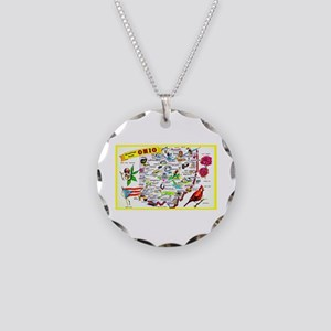 Ohio Map Greetings Necklace Circle Charm