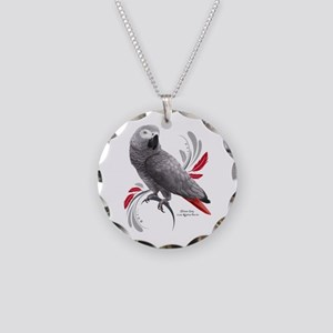 African Grey Parrot Necklace Circle Charm