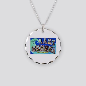 Lake Geneva Wisconsin Greetings Necklace Circle Ch