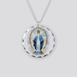 Miraculous Medal Necklace Circle Charm