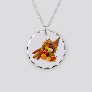 Thanksgiving Cornucopia Necklace Circle Charm