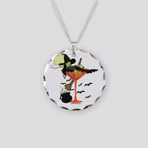 Halloween Martini Girl Necklace Circle Charm