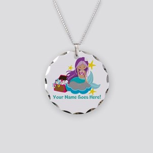 Purple Mermaid Necklace Circle Charm