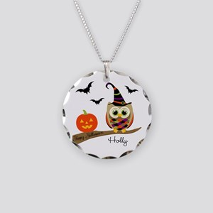 Custom name Halloween owl Necklace Circle Charm