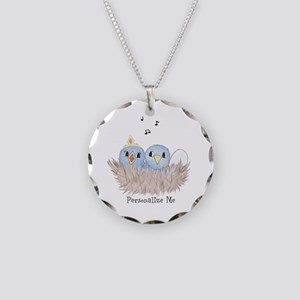 Baby Bird Necklace Circle Charm