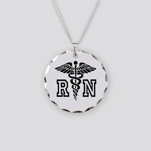 Rn Registered Nurse Caduceus Necklace Circle Charm