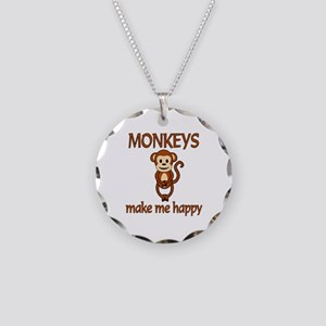 Monkey Happy Necklace Circle Charm