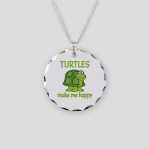 Turtle Happy Necklace Circle Charm