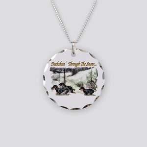Dachshund Christmas Necklace Circle Charm