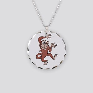 Monkey Excited Necklace Circle Charm