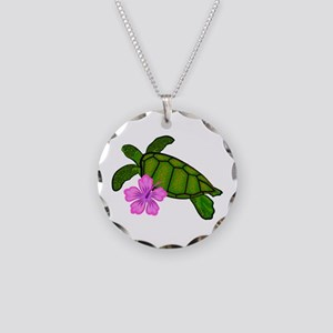 Colored Sea Turtle Hibiscus Necklace Circle Charm