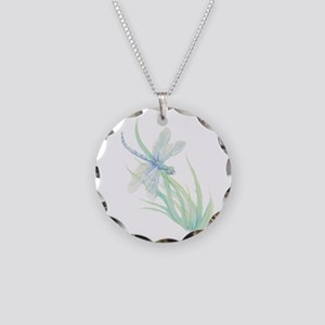 Watercolor Dragonfly paintin Necklace Circle Charm