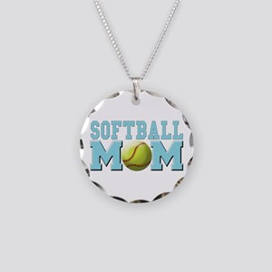 softball mom(white) Necklace Circle Charm