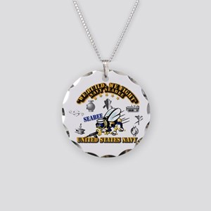 Navy - Seabee - Rates Necklace Circle Charm