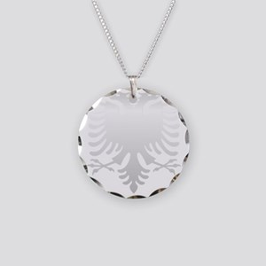 Albanian Eagle Silver 56in Necklace Circle Charm