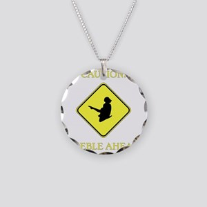 Irish Dance Caution Necklace Circle Charm