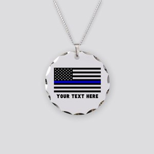 Thin Blue Line Flag Necklace Circle Charm