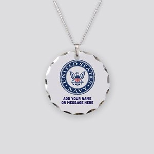 US Navy Symbol Personalized Necklace Circle Charm
