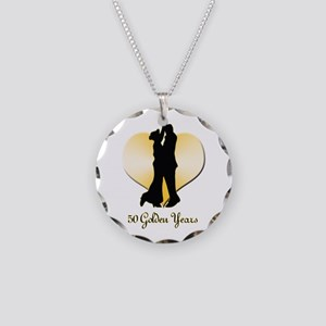 50th Wedding Anniversary Necklace Circle Charm