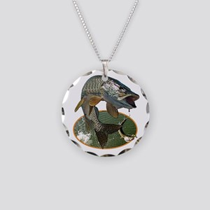 Musky Fishing Necklace Circle Charm