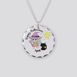 Custom name Halloween witch Necklace Circle Charm