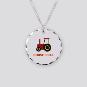 Personalised Red Tractor Necklace Circle Charm