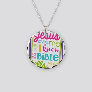 Jesus loves me Necklace Circle Charm