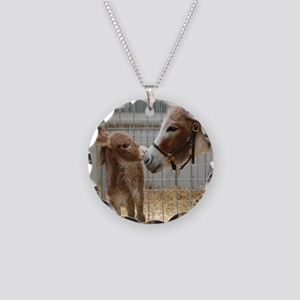 Newborn Donkey Foal Necklace Circle Charm